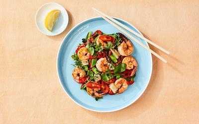 Shrimp, Leek and Watercress Stir-Fry