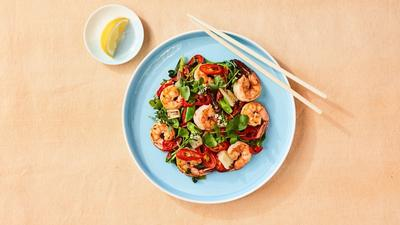 Shrimp, Leek and Watercress Stir-Fry
