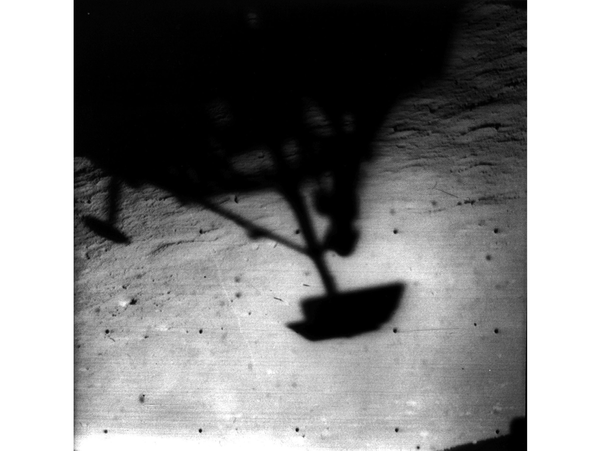 1966: Shadow of Surveyor 1 on the moon. Surveyor 1 was launched on May 30, 1966 and landed on the m