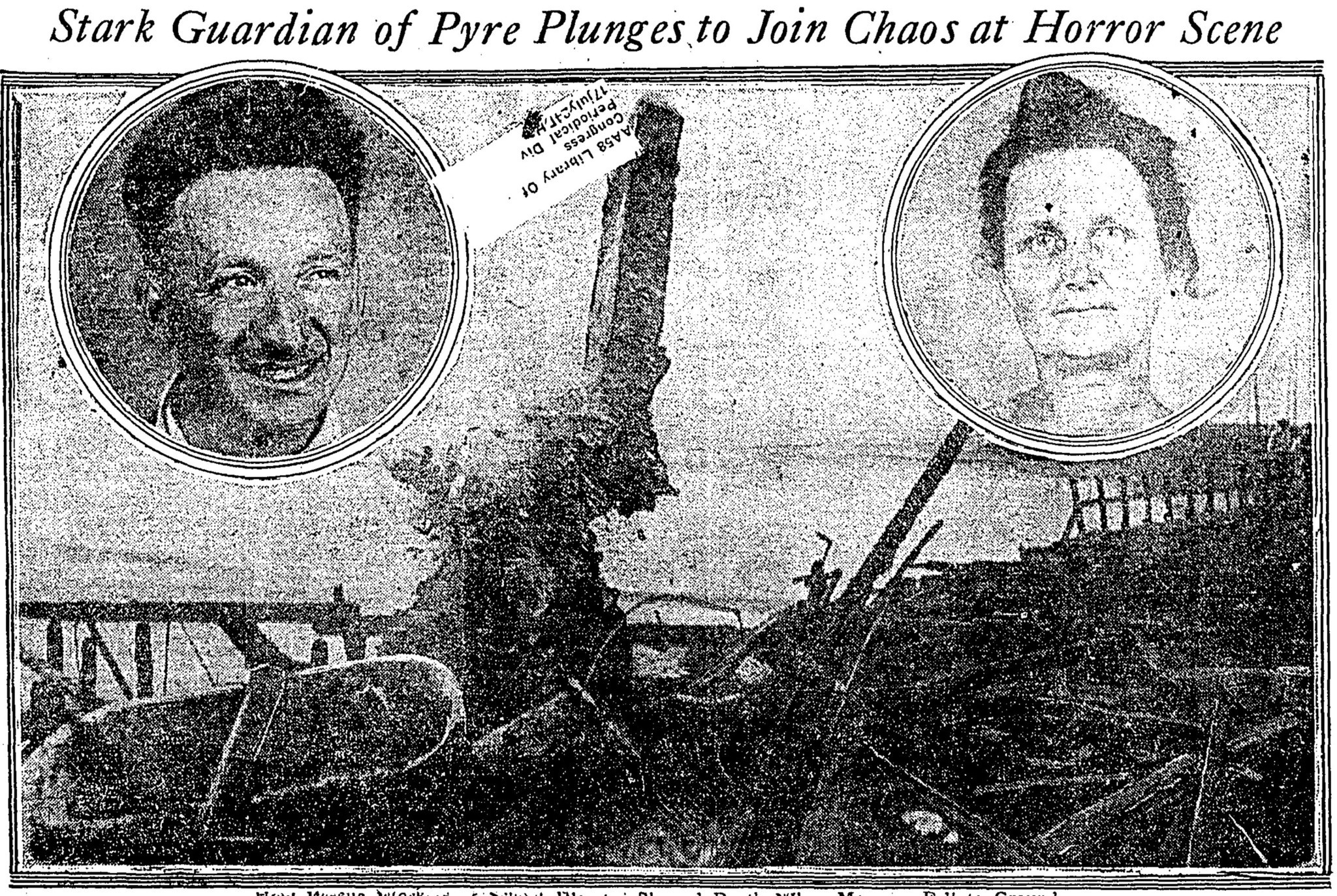 June 2, 1924: Graphic from the June 2, 1924, Los Angeles Times showing burned out remains of the Hop