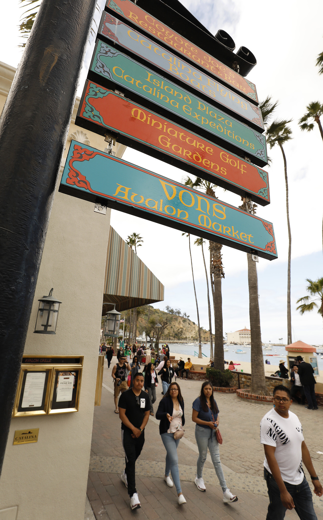 AVALON CATALINA ISLAND, CA - APRIL 16, 2019 - Sign at Crescent and Catalina Ave overlooking the Har