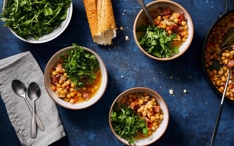 Brothy Baked Chickpeas With Chilled Lemon Watercress