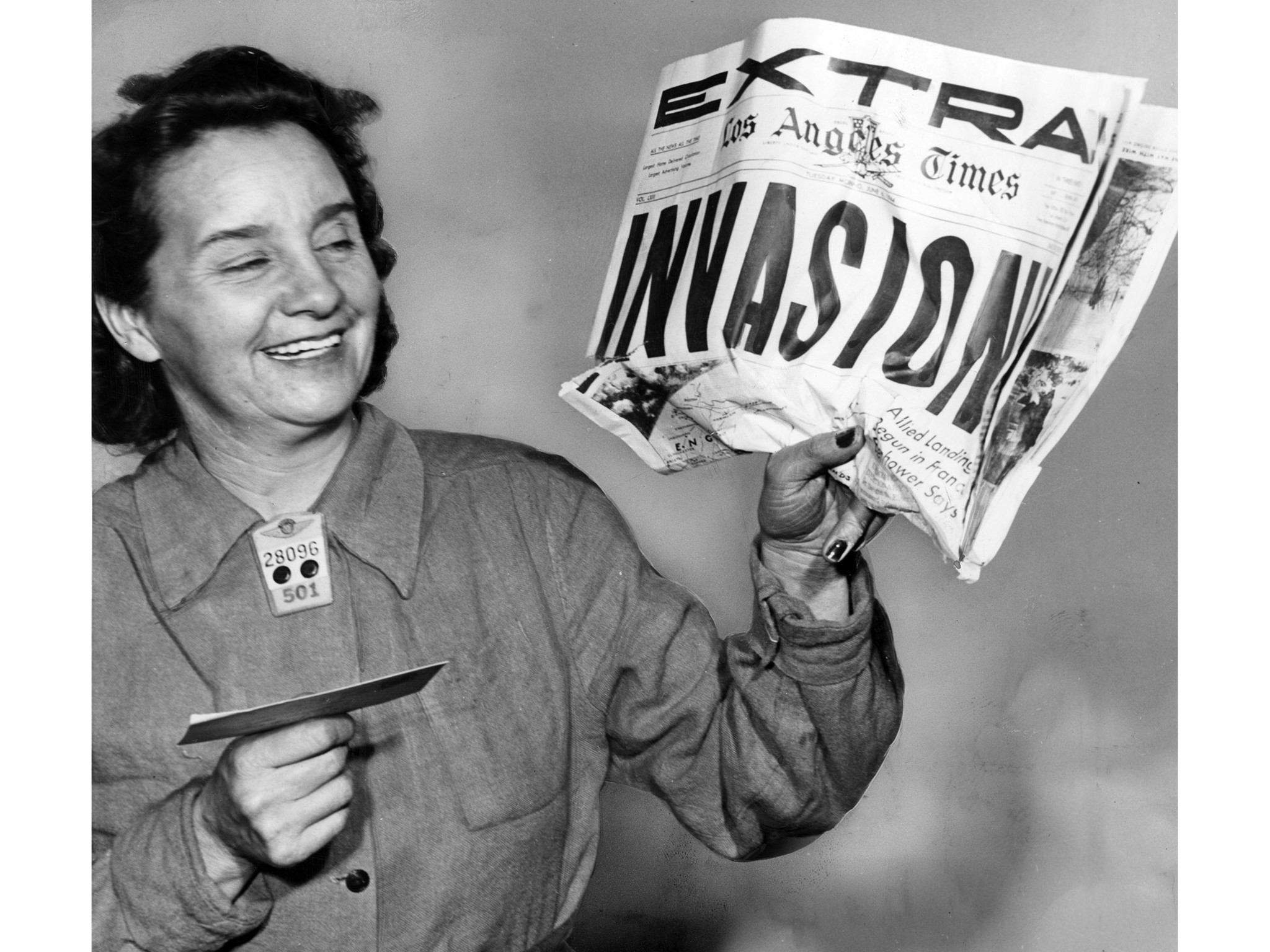 June 6, 1944: Mrs. Blanche Choate, Douglas worker received happy news on D-Day that her missing son,