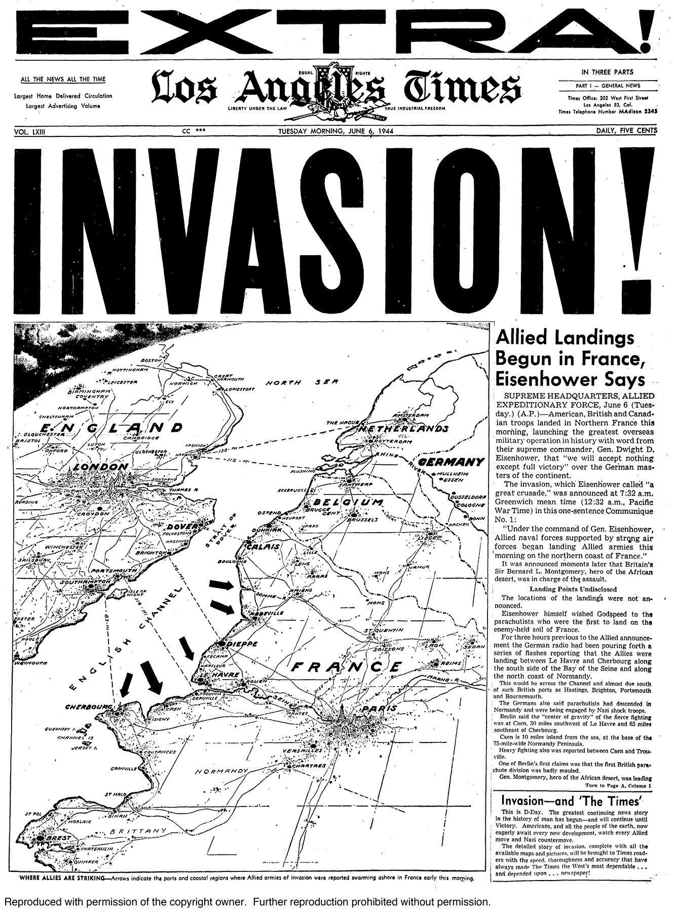 June 6, 1944 special edition of the Los Angeles Times announcing the invsion of France.