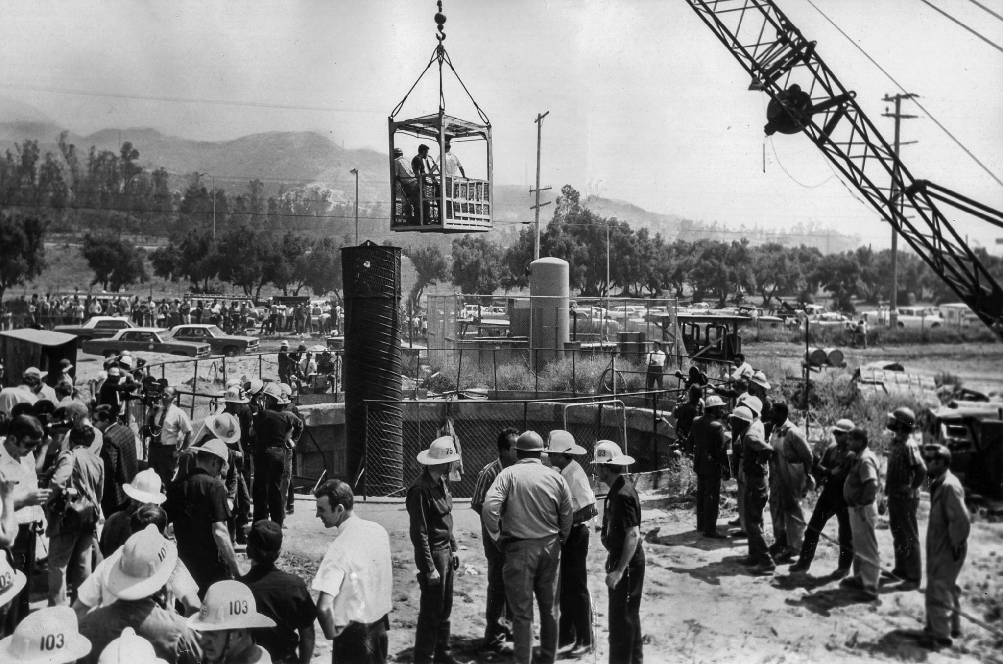 June 24, 1971: Scene at gate shaft on the 5.5 mile long San Fernando tunnel where survivor Ralph Bis