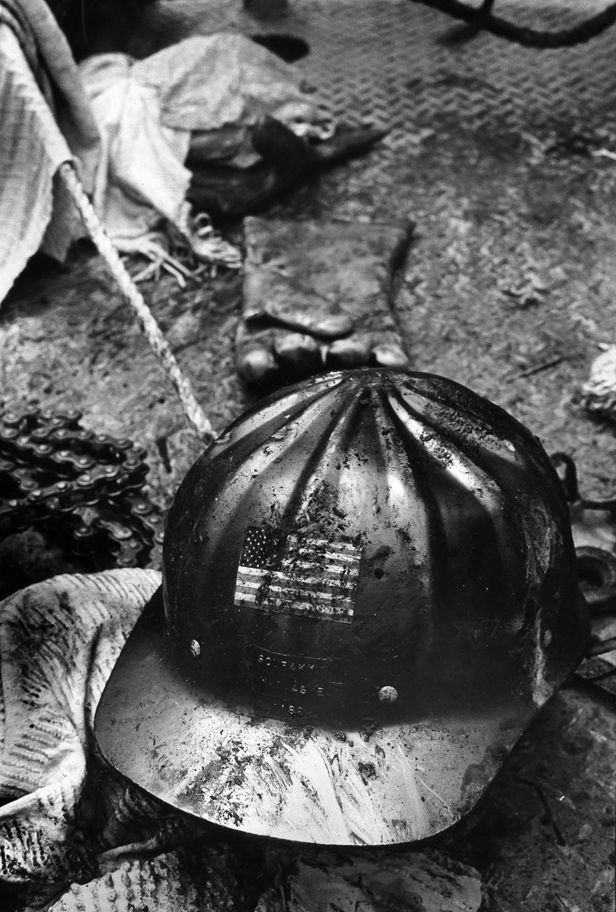 June 27, 1971: Helmet worn by William I. Ashe, 52, killed by explosion in tunnel in Sylmar. This pho