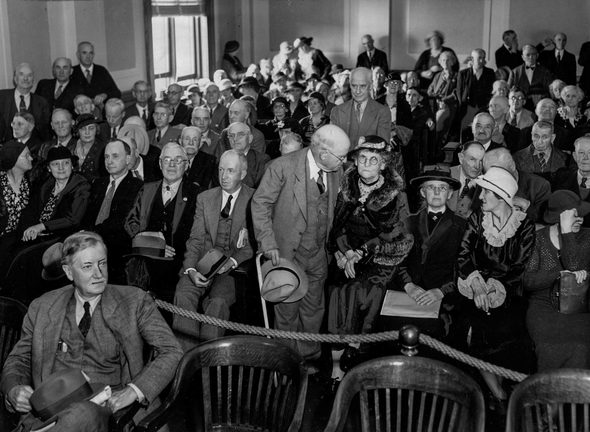 April 28, 1936: Spectators at Congressional hearing on Dr. Francis Townsend and his Old-Age Revolvin