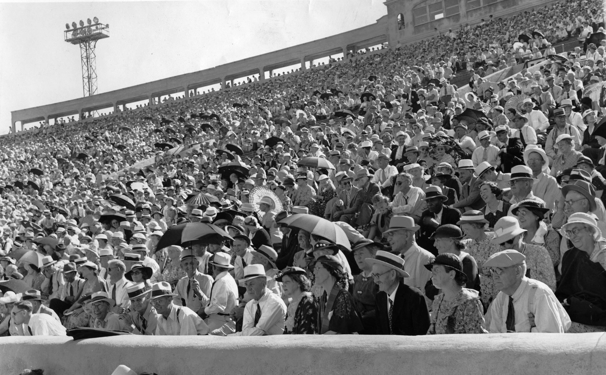 July 5, 1936: Part of crowd of 18,000 at the Rose Bowl to hear Dr. Francis Townsend speark about his