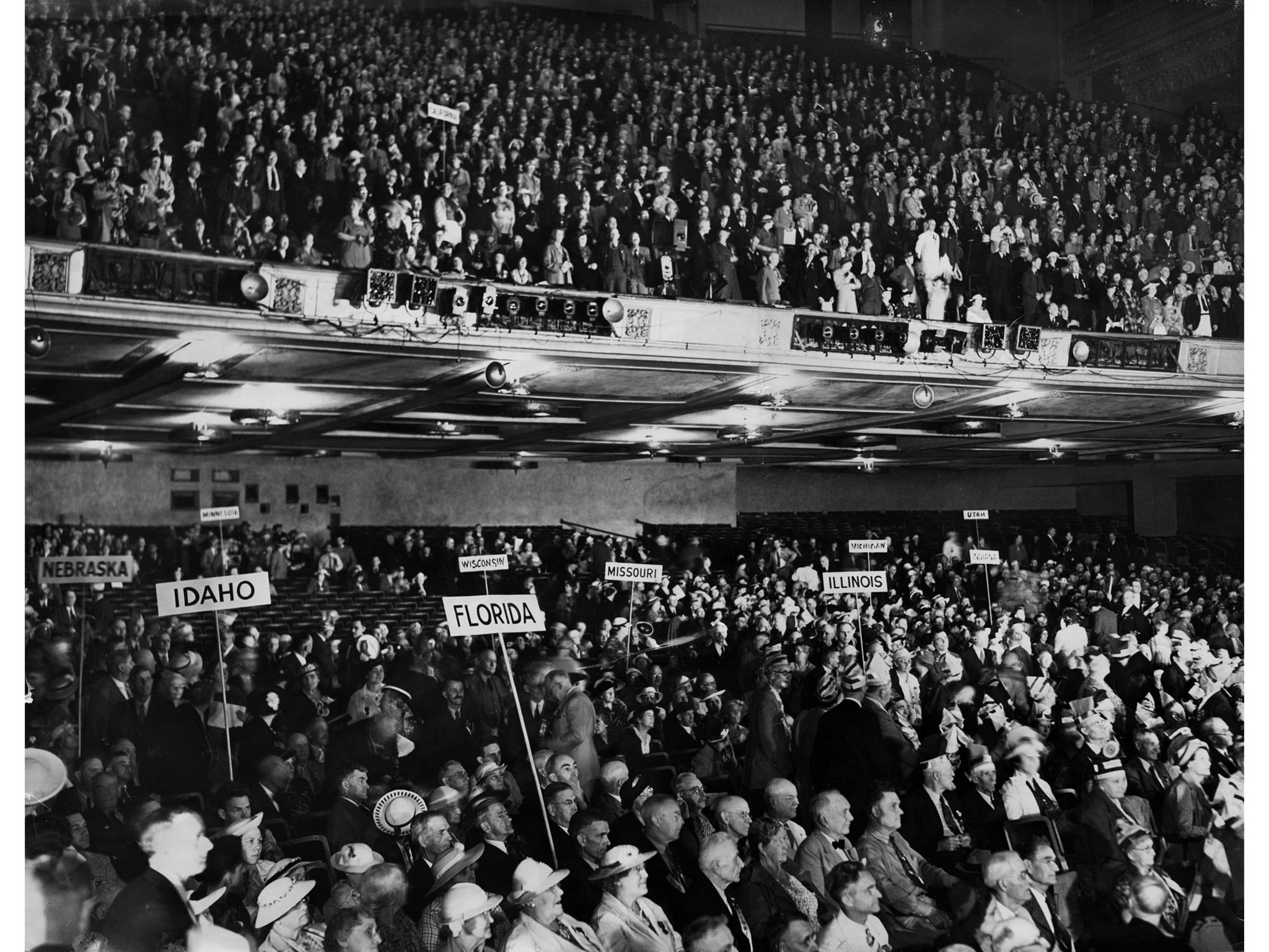 June 20, 1938: Main hall at Shrine Auditorium during opening of third annual Townsend pension plan c