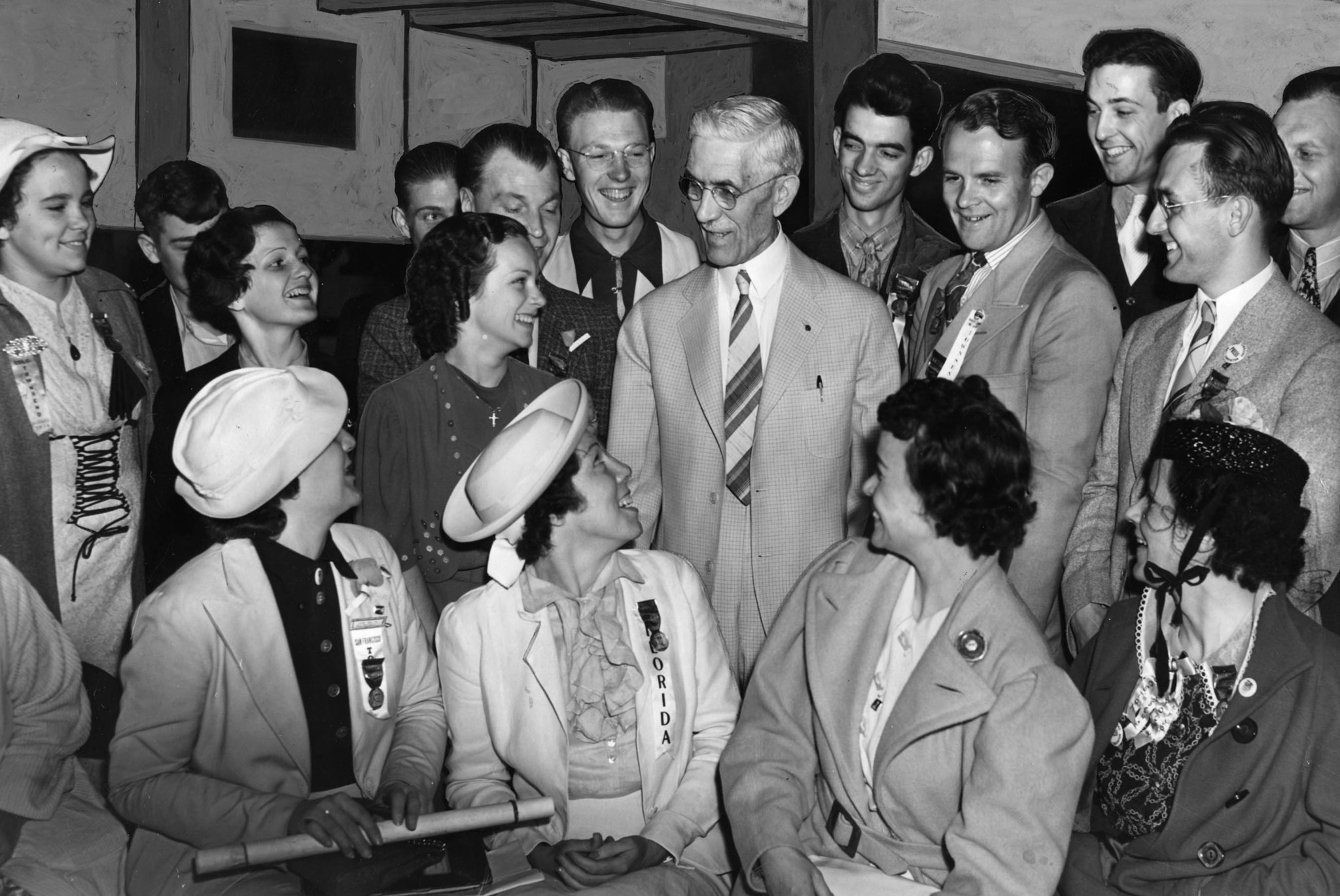 June 21, 1938: Dr. Francis E. Townsend, center, with supporters of his old age pension plan during n