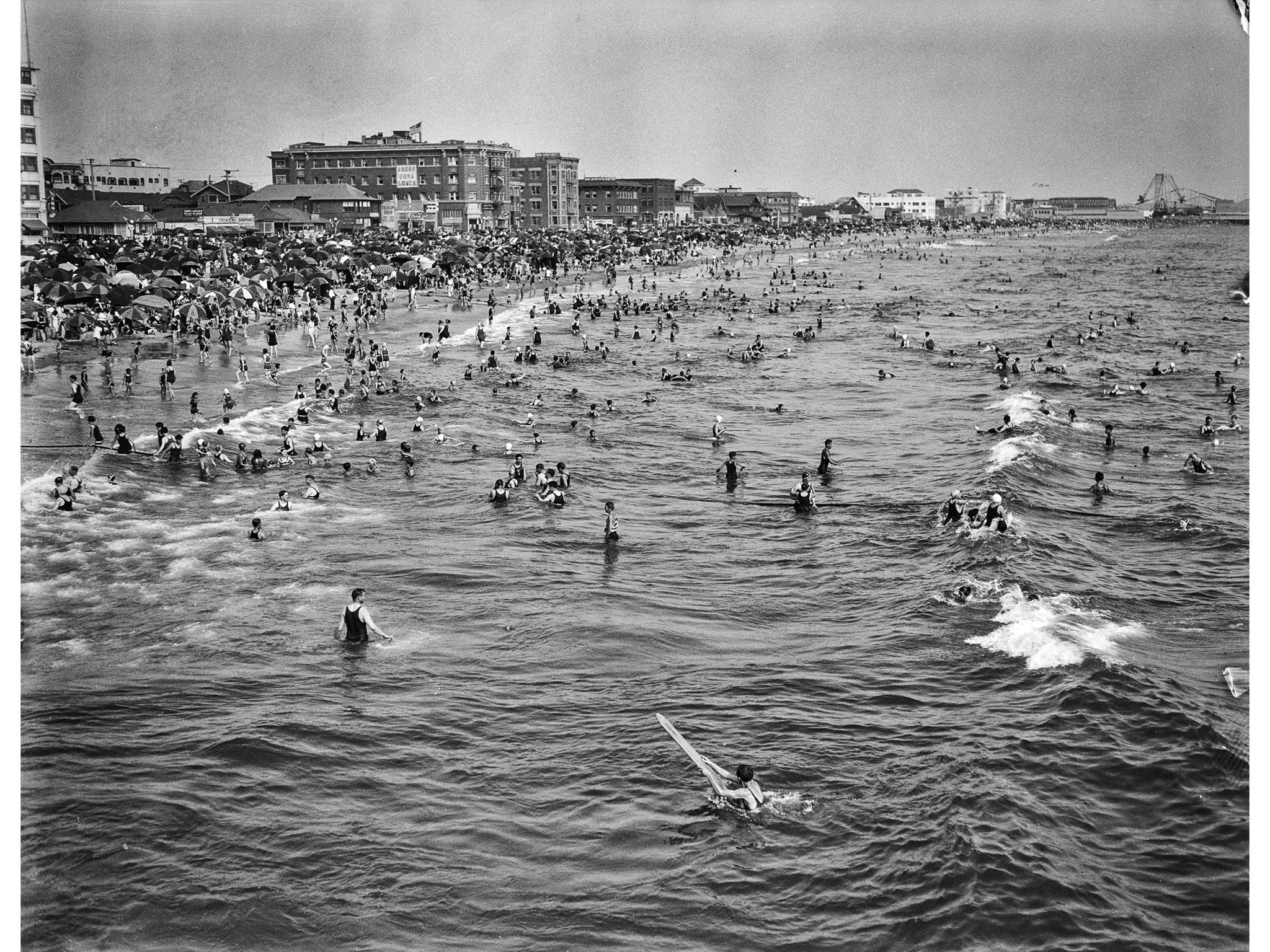 July 4, 1929: Crowd celebrating the Fouth of July on Ocean Park Beach, Santa Monica. This image is f