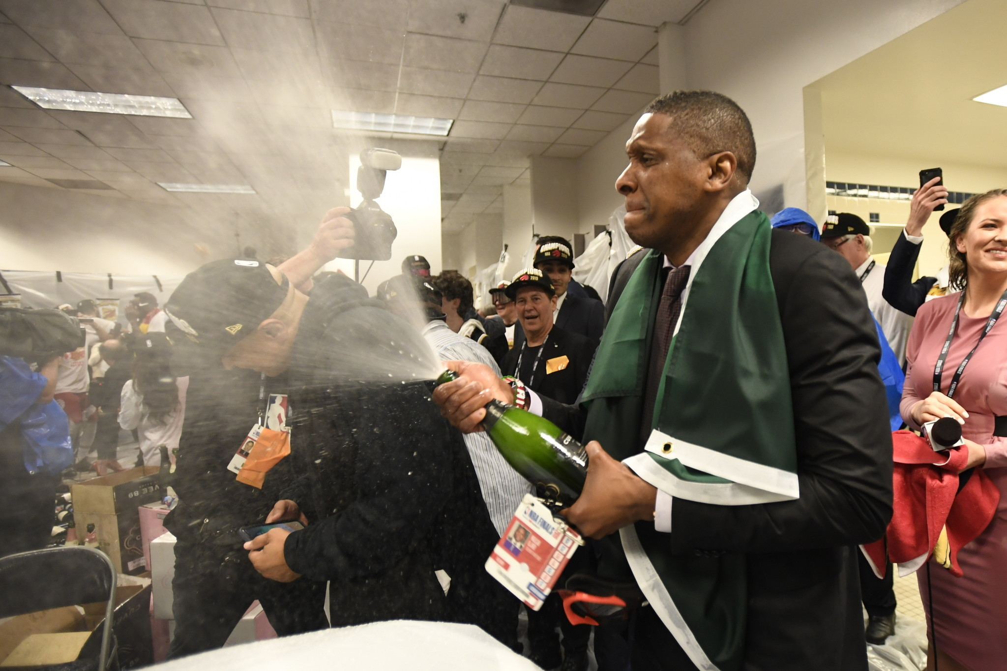 Toronto Raptors President Masai Ujiri celebrates after the team's 114-110 win over the Golden State