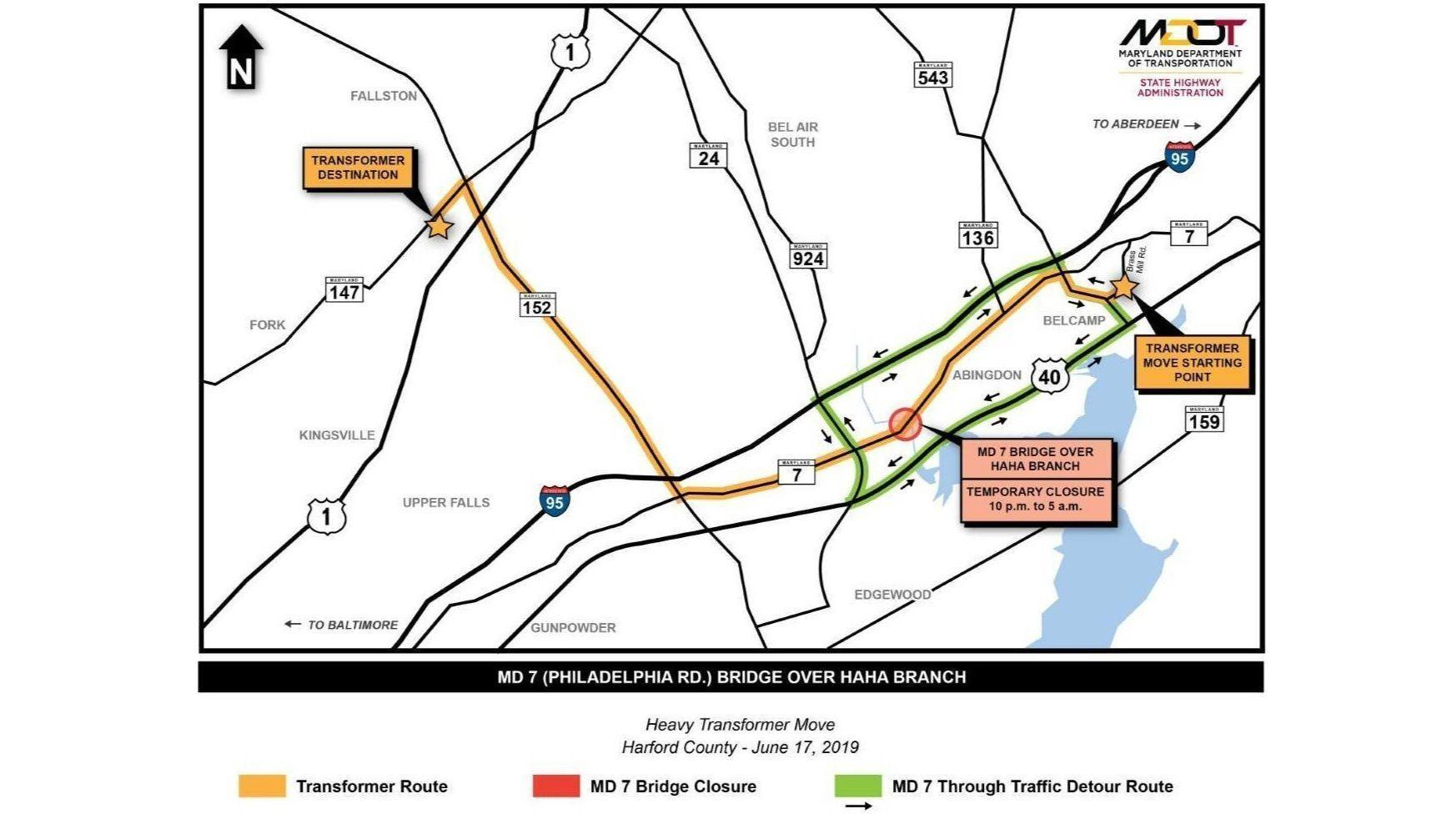Route 7 bridge in Harford to temporarily close Monday night for BGE transformer move