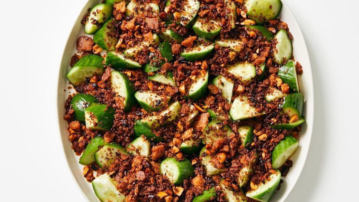 Chilled Cucumbers with Chile Crisp Breadcrumbs