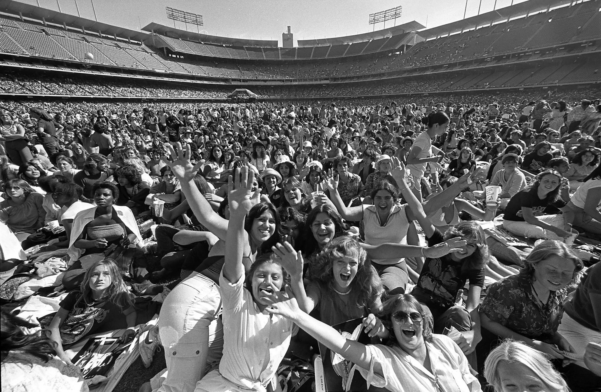 July 7, 1979: Fans arrived early to pack Dodger Stadium for a sell-out concert by the Bee Gees rock