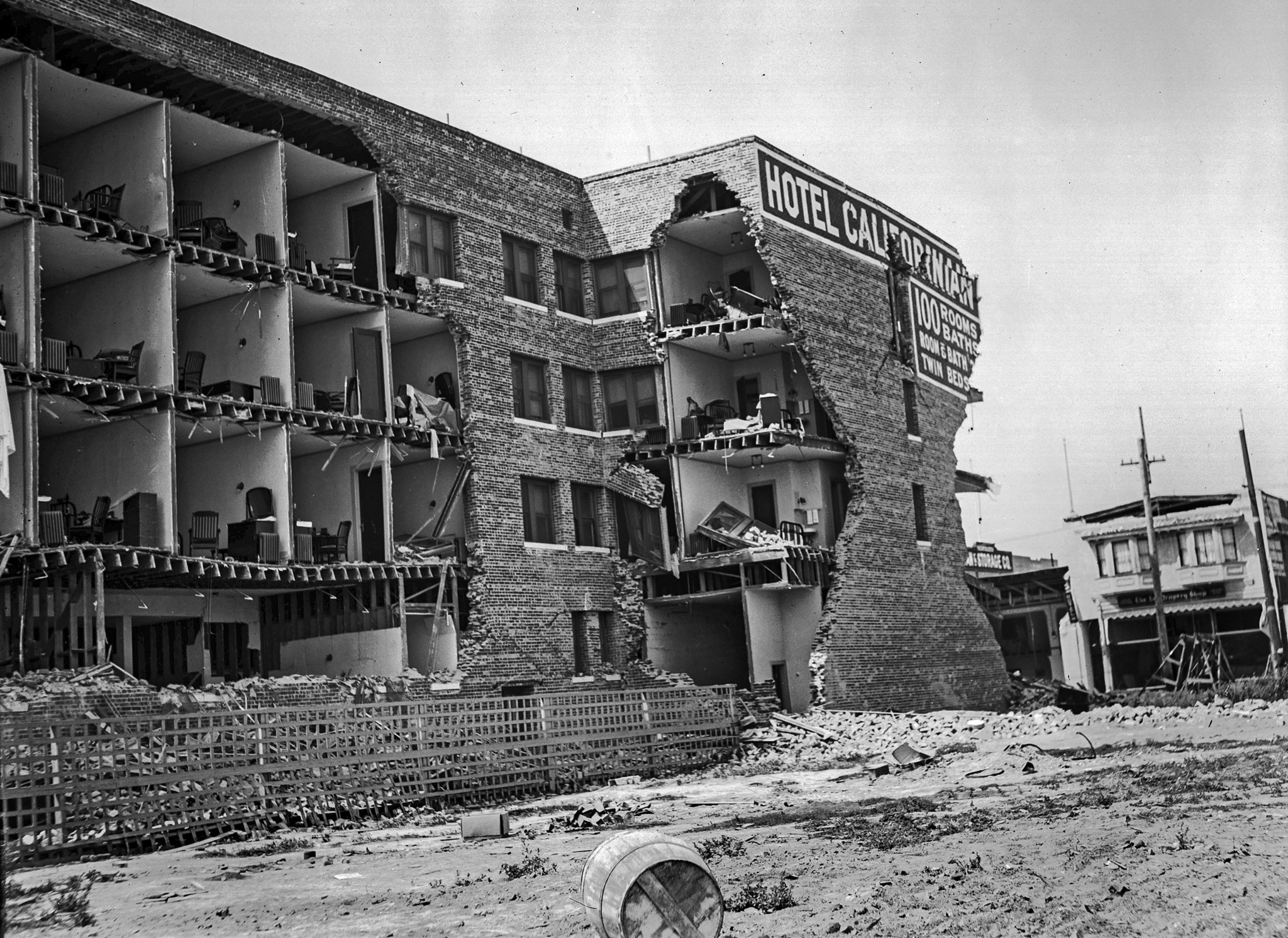 June 29, 1925: Damage at the Californian Hotel after Santa Barbara earthquake.