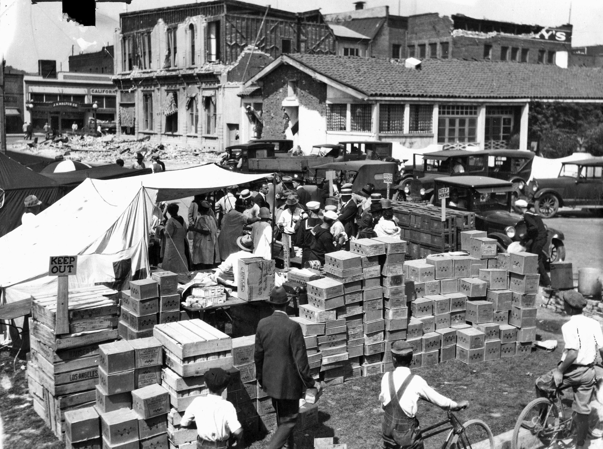 July 1, 1925: Red Cross relief workers set up outdoors in Santa Barbara following earthquake. This p