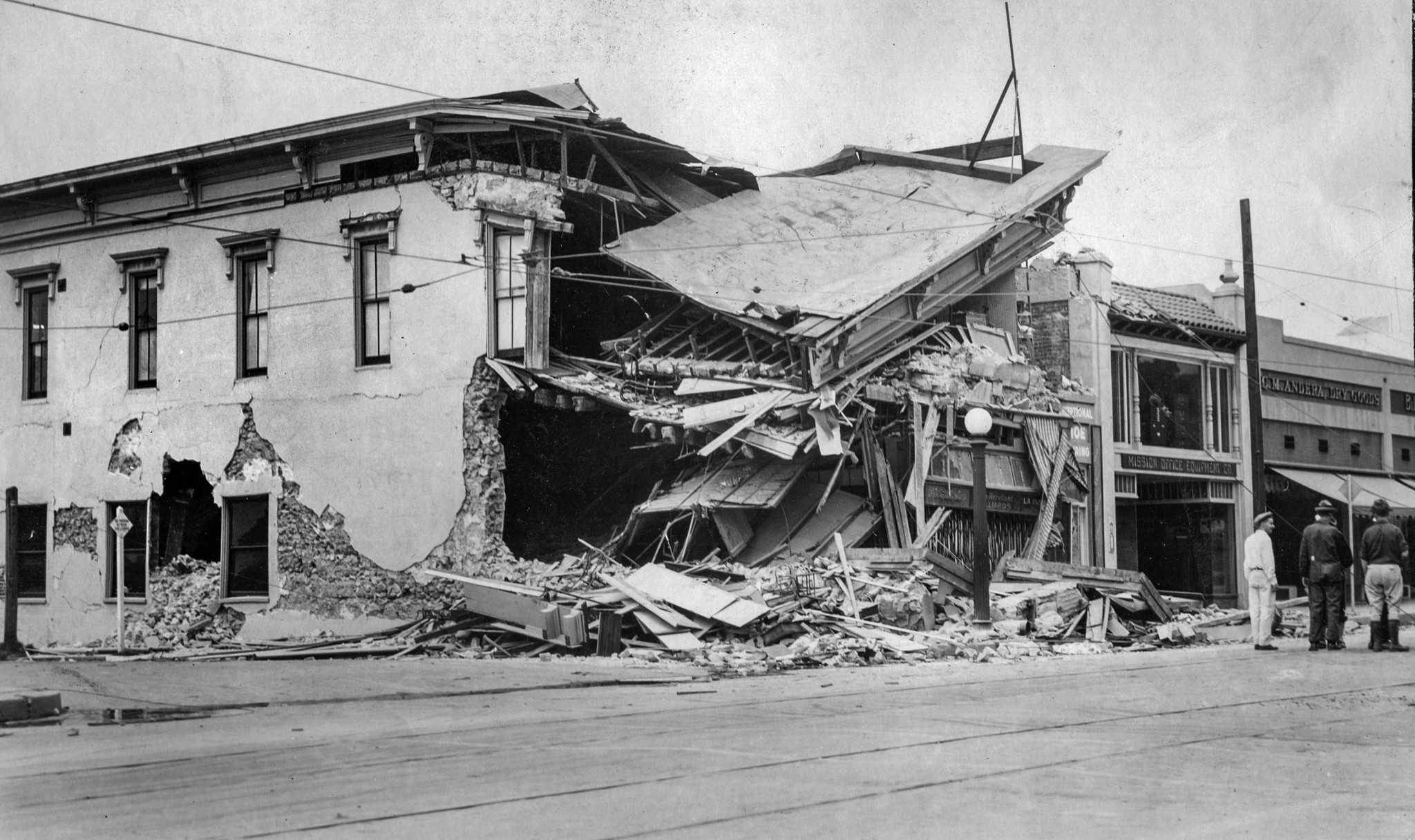 June 29, 1925: Ruins of State Street store in Santa Barbara after earthquake. This photo was publish
