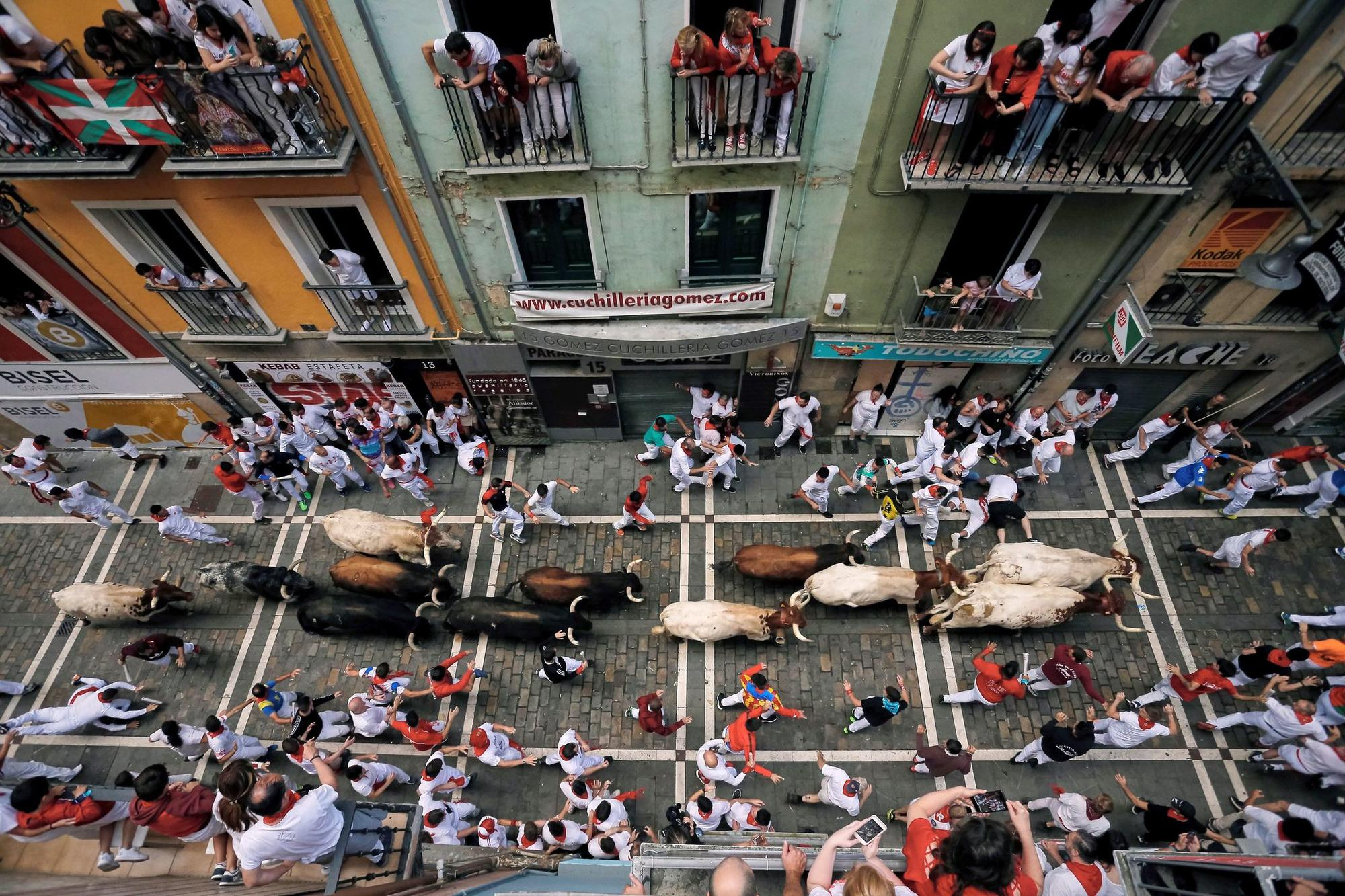 Second bullrun of Sanfermines, Pamplona, Spain - 08 Jul 2019