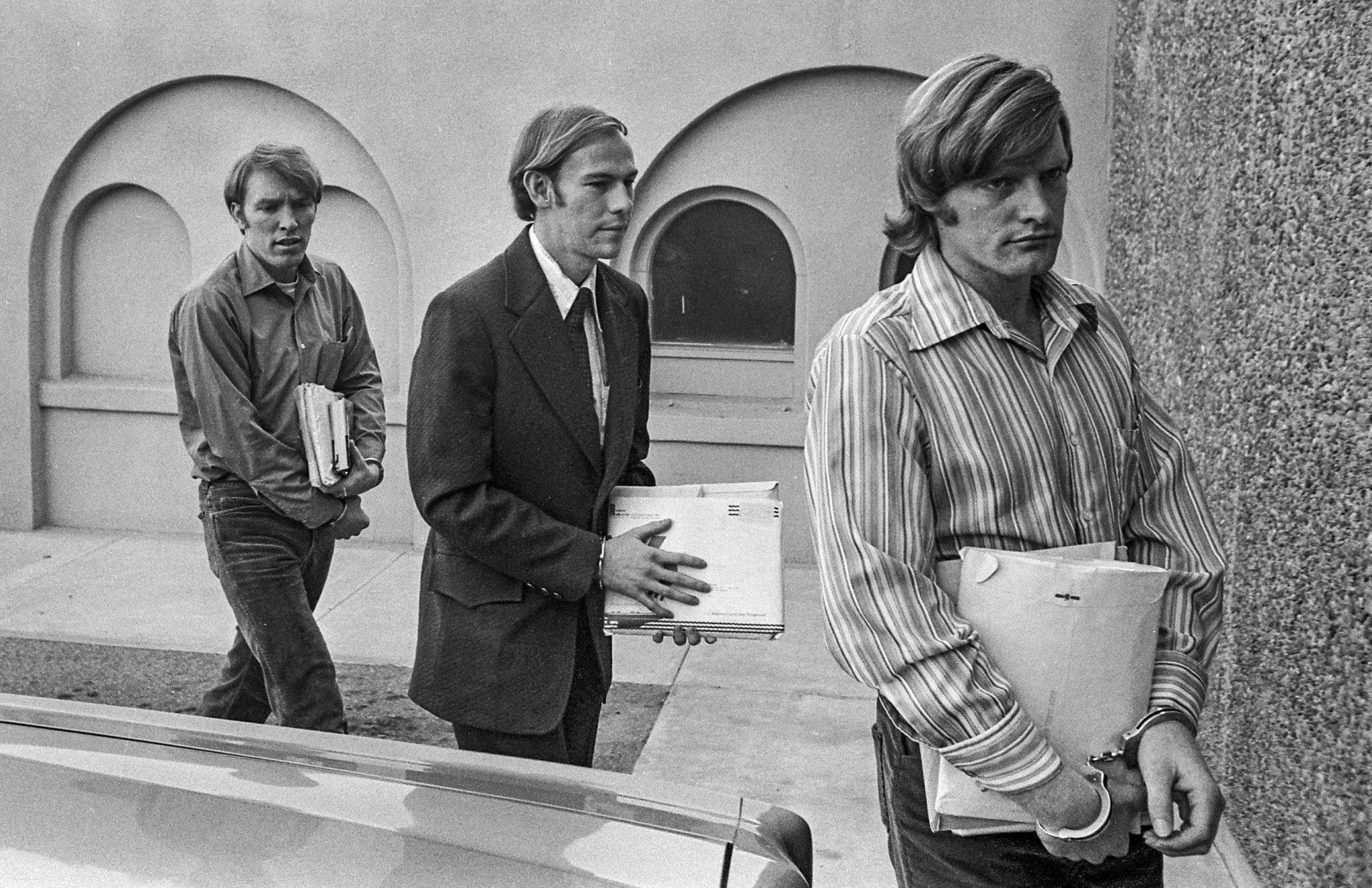 Oct. 19, 1976: Chowchilla bus kidnapping suspects from left, James Schoenfeld, Fred N. Woods and Ric