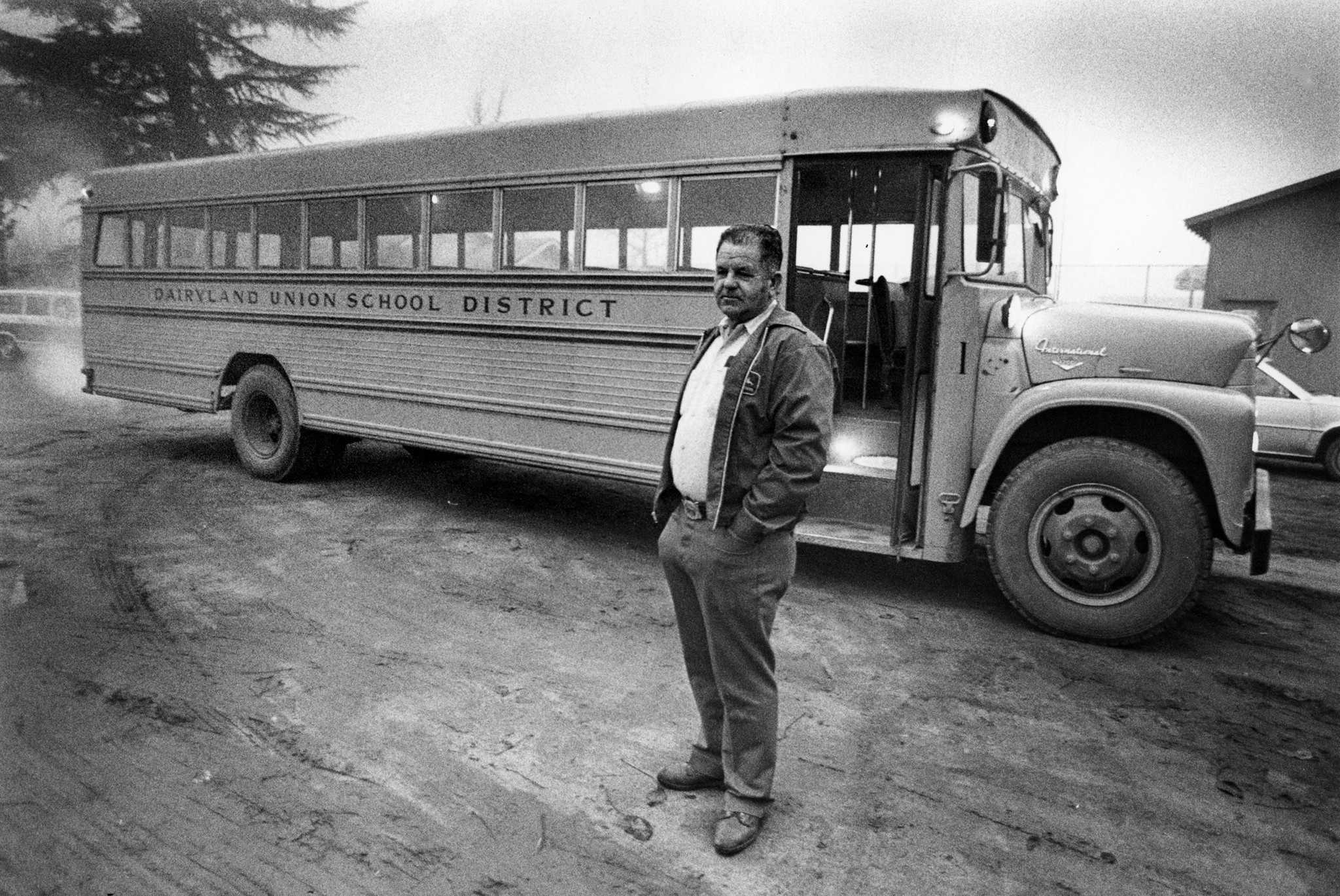 Jan. 6, 1983: Bus Driver Ed Ray in front of bus he drove the day of the Chowchilla kidnapping. This