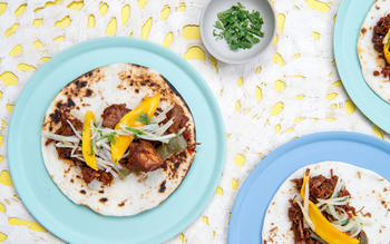 Instant Pot Hatch Chile Pork Tacos With Kohlrabi Mango Slaw