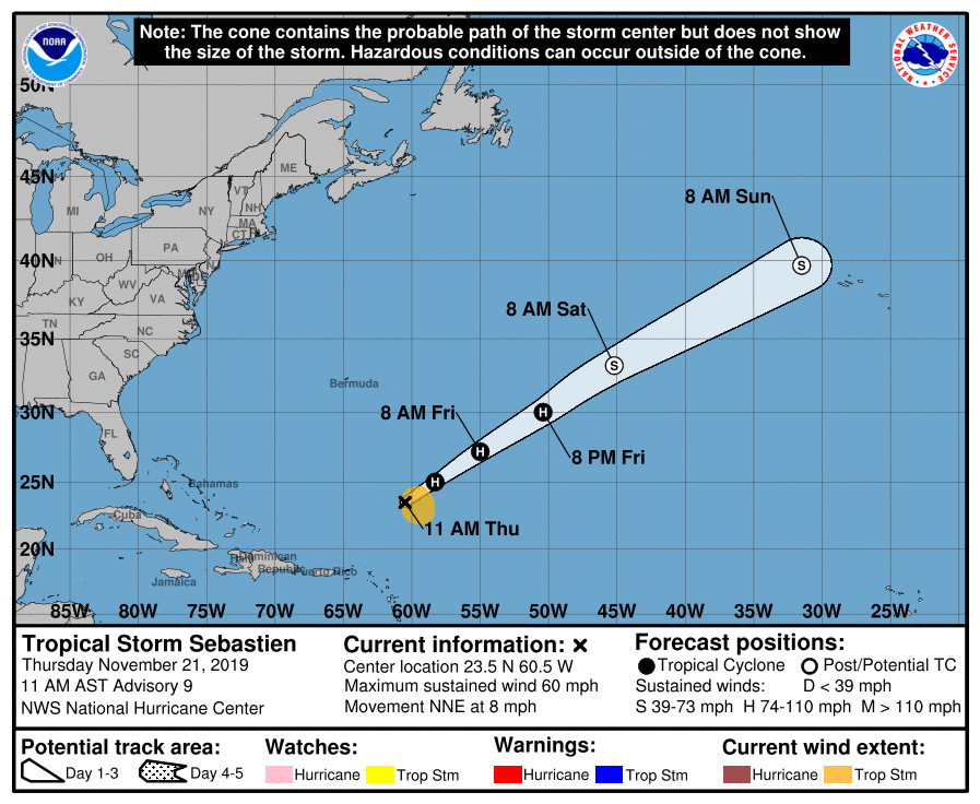 Sebastien expected to strengthen into hurricane, becoming first 'S' storm since Sandy