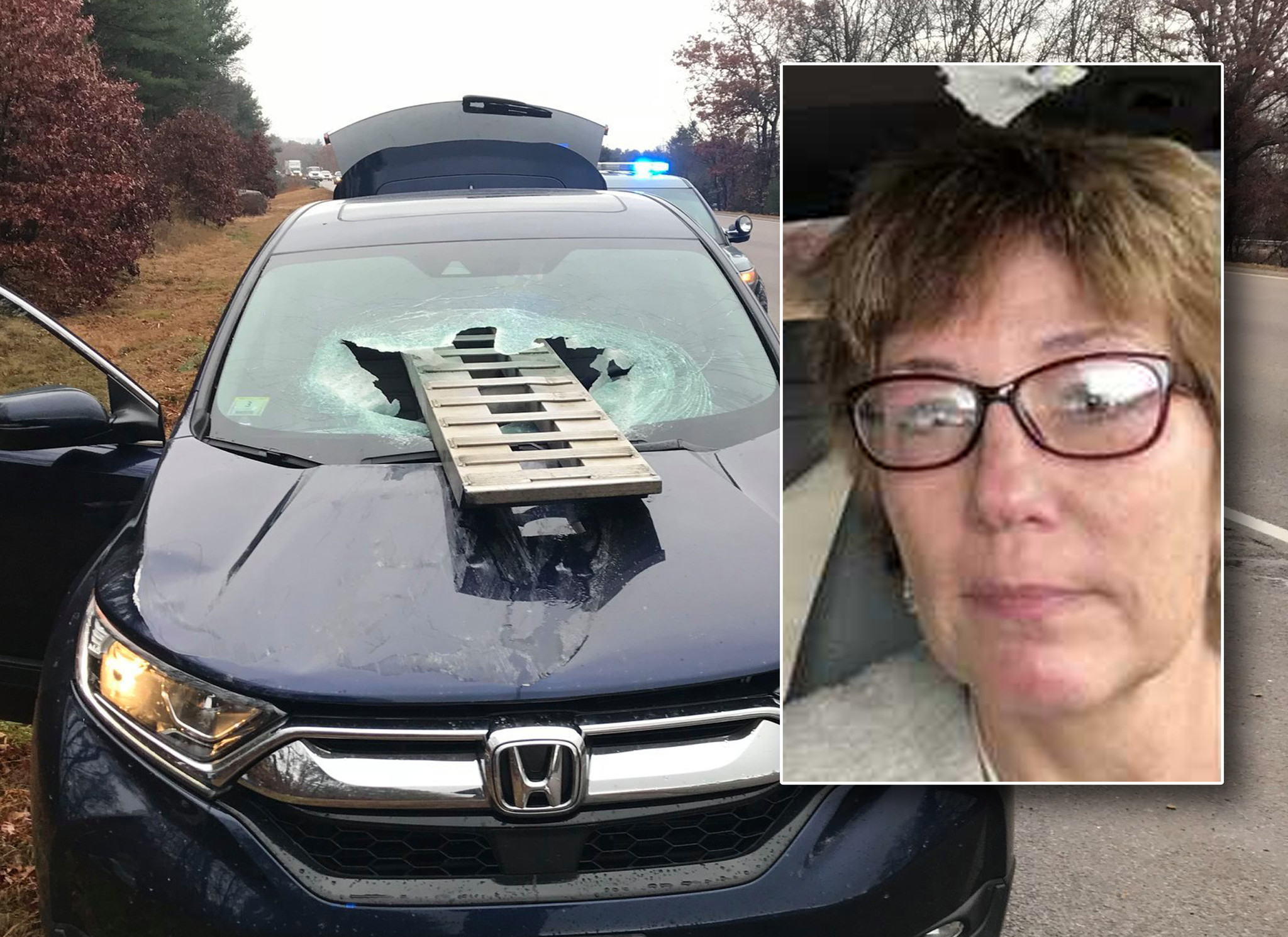 Massachusetts woman survives freak road accident when ramp soars through windshield: 'There was glass everywhere, literally everywhere'
