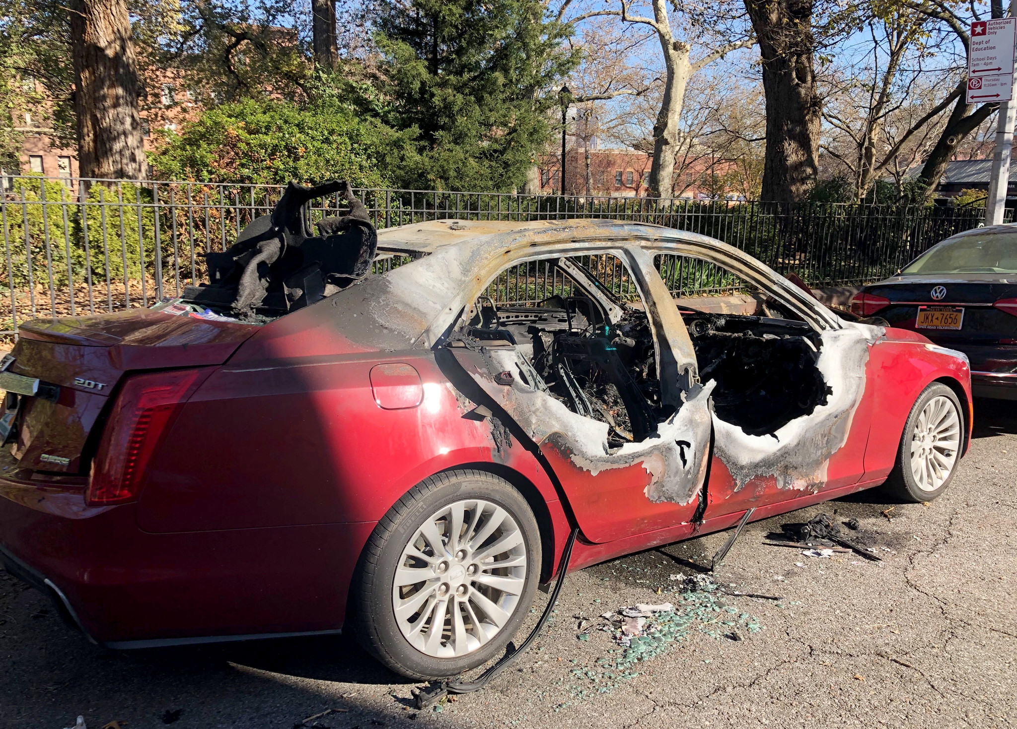 Sports car with multiple Trump bumper stickers bursts into flames in Brooklyn