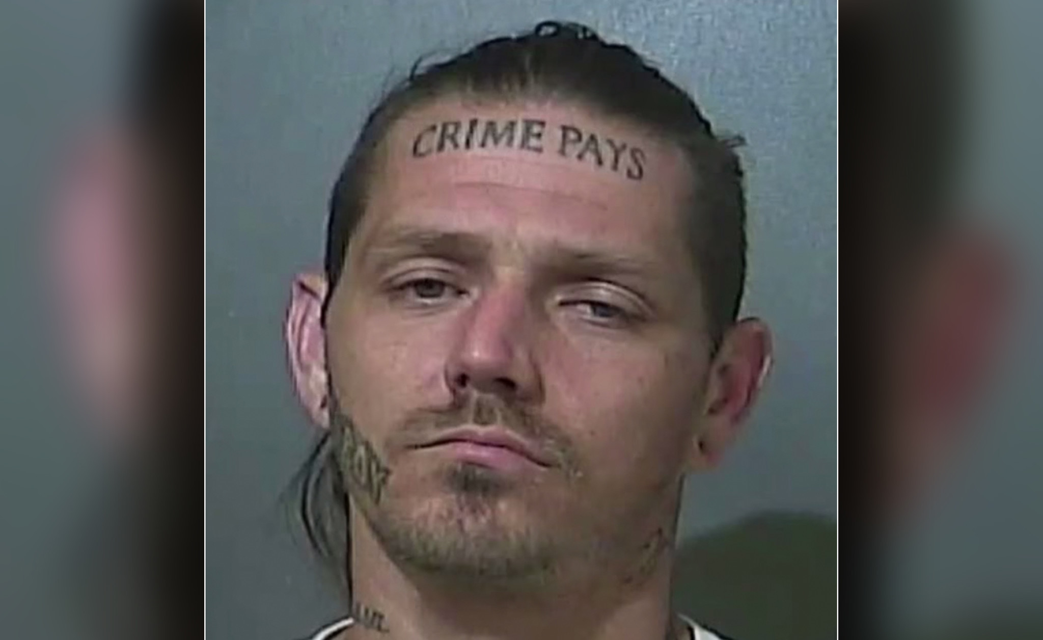Indiana cops bust man with 'Crime Pays' forehead tattoo after car chase. Again.
