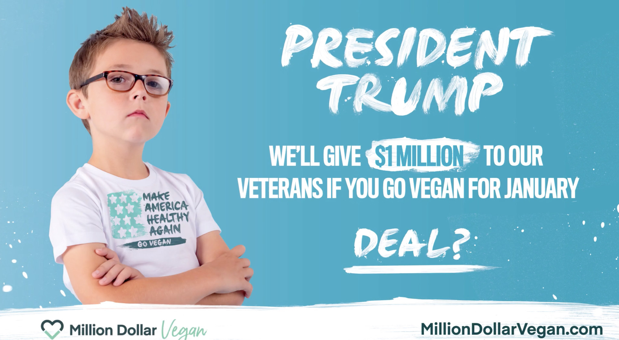 Kid to Trump: Eat vegan for January and veterans will get $1 million