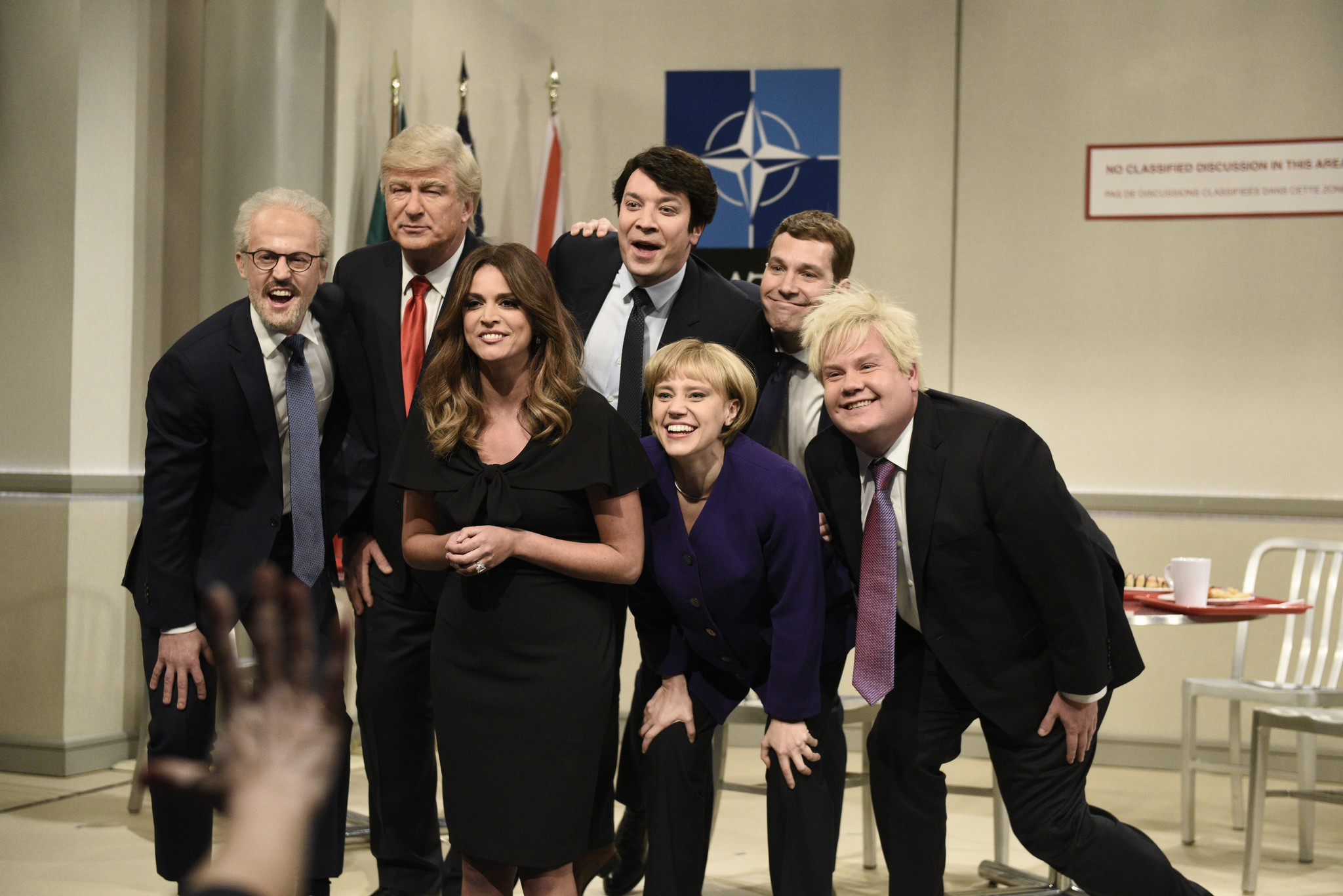 SEE IT: Jimmy Fallon, Paul Rudd and James Corden make surprise appearances on 'Saturday Night Live' in NATO cafeteria skit
