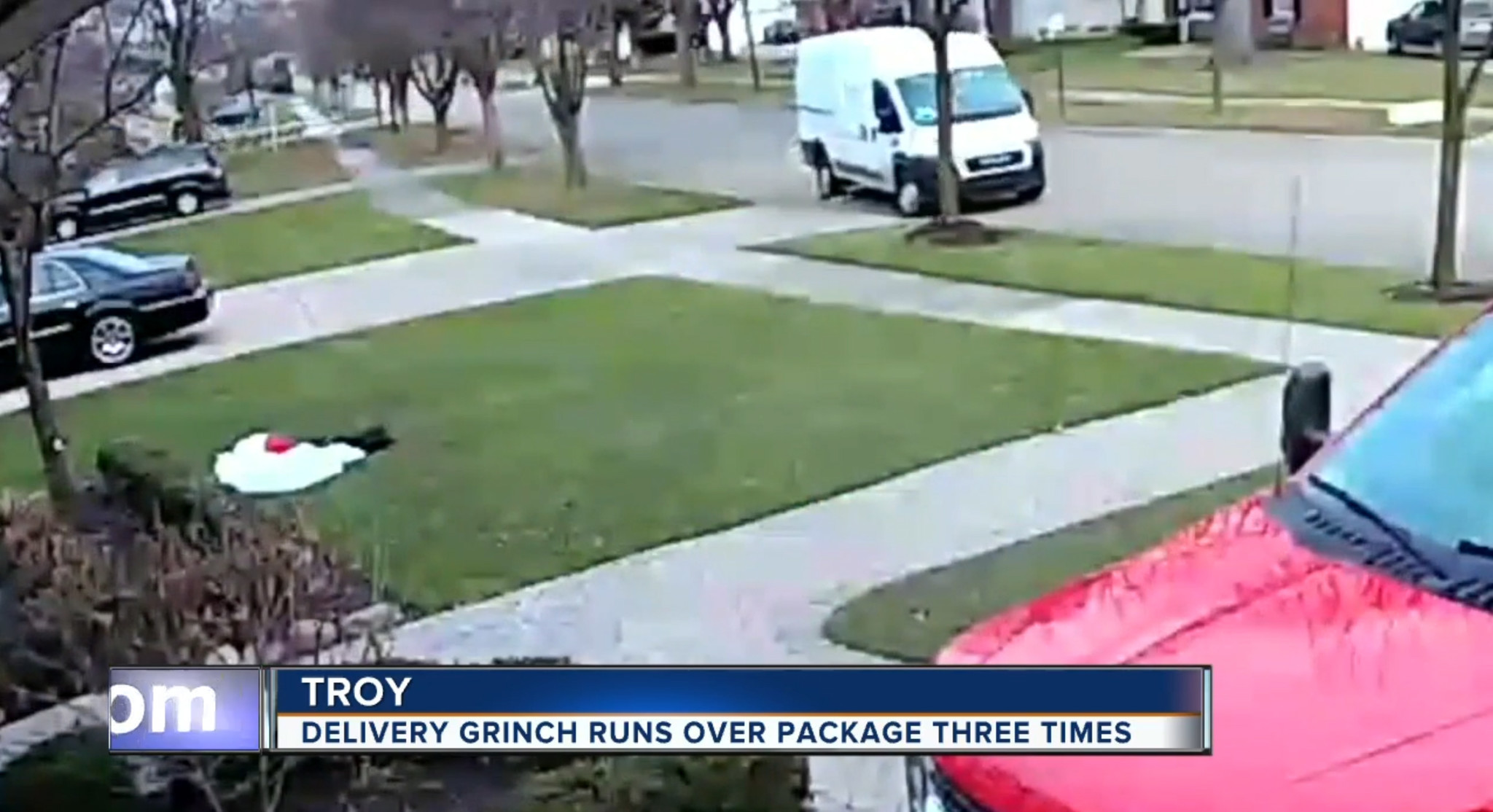 SEE IT: Delivery driver runs over Amazon package, repeatedly