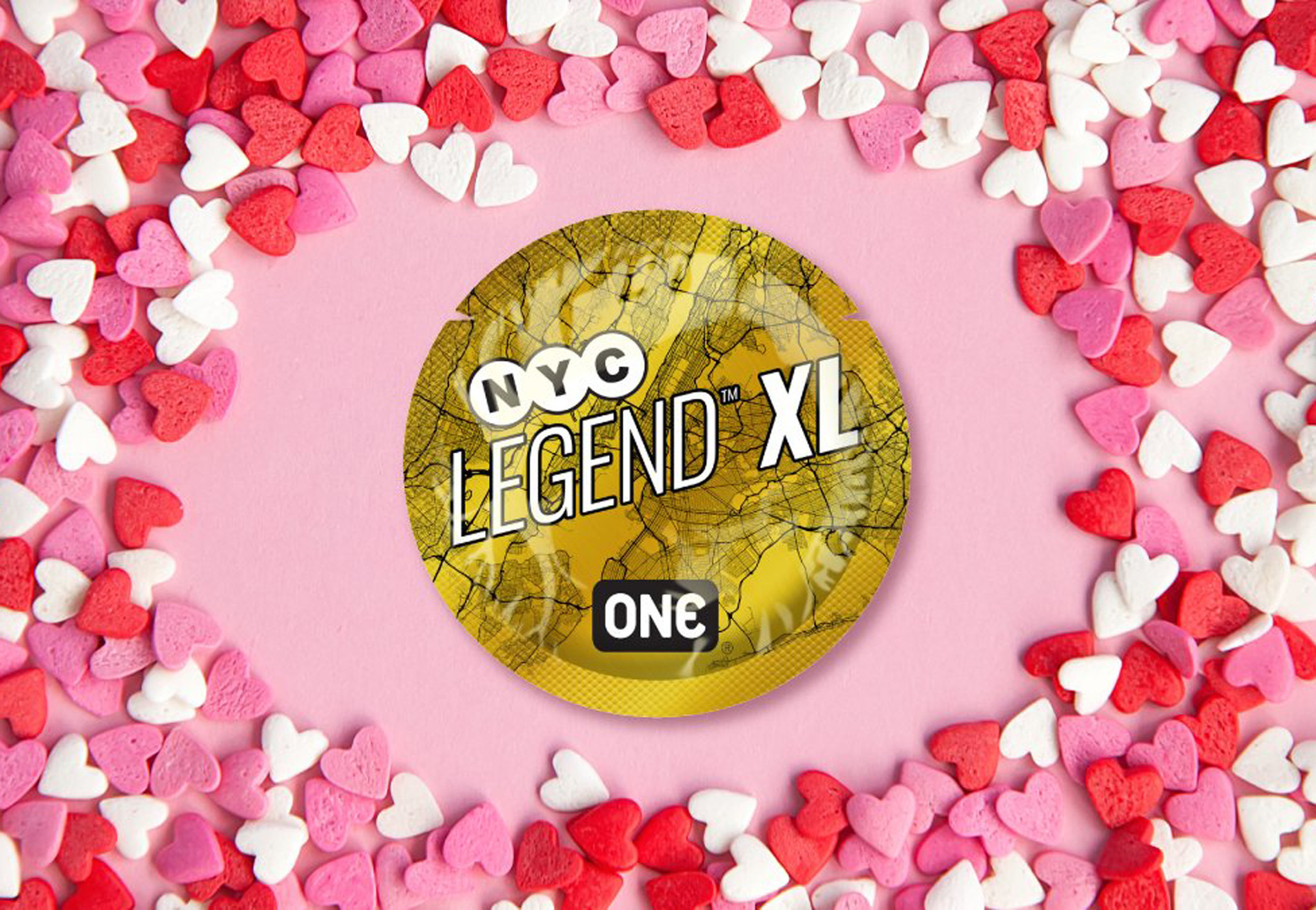 NYC launches gold grid street 'XL' condom wrapper for Valentine's Day