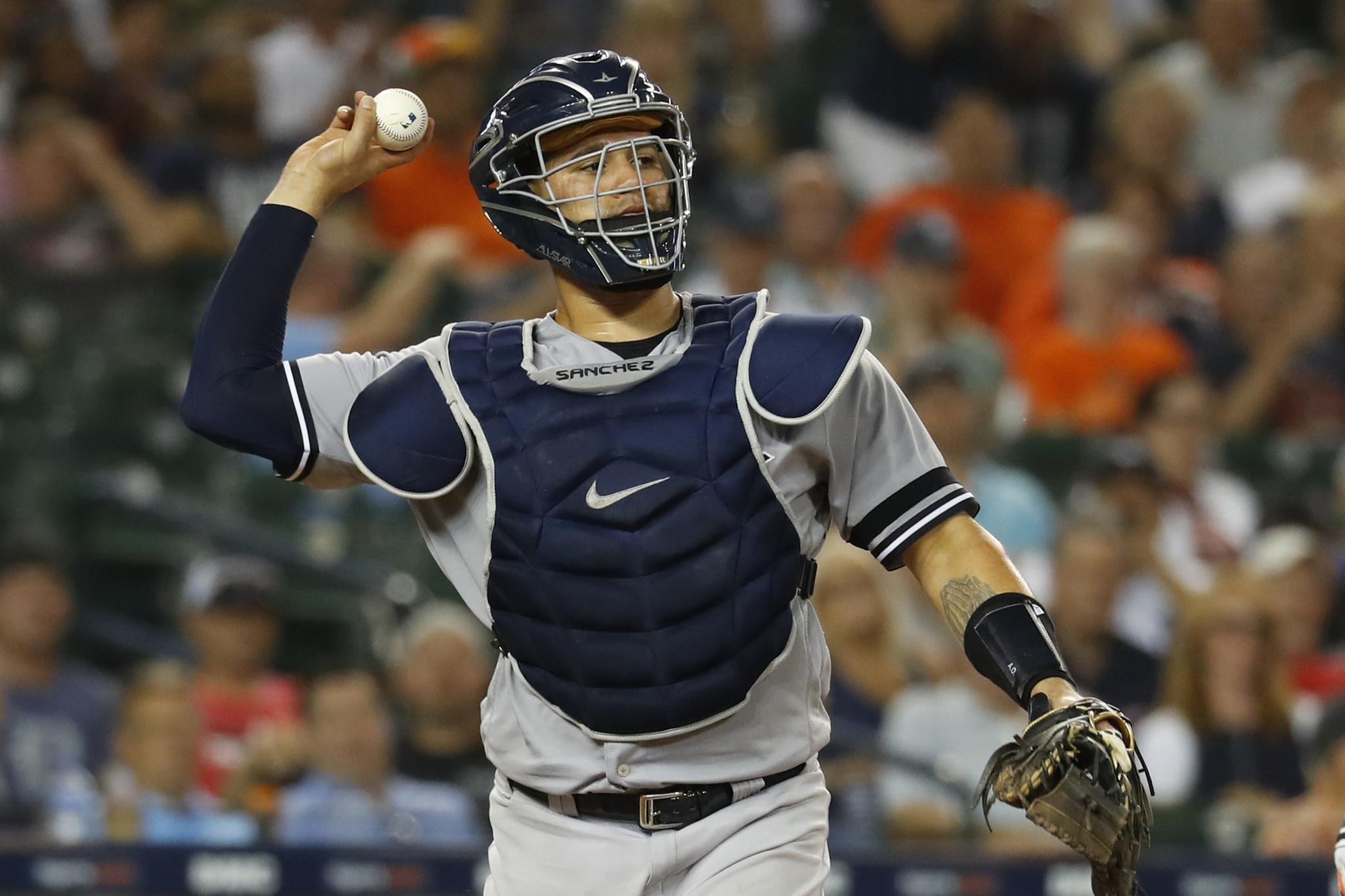 Gary Sanchez and new Yankees catching guru Tanner Swanson get down to work
