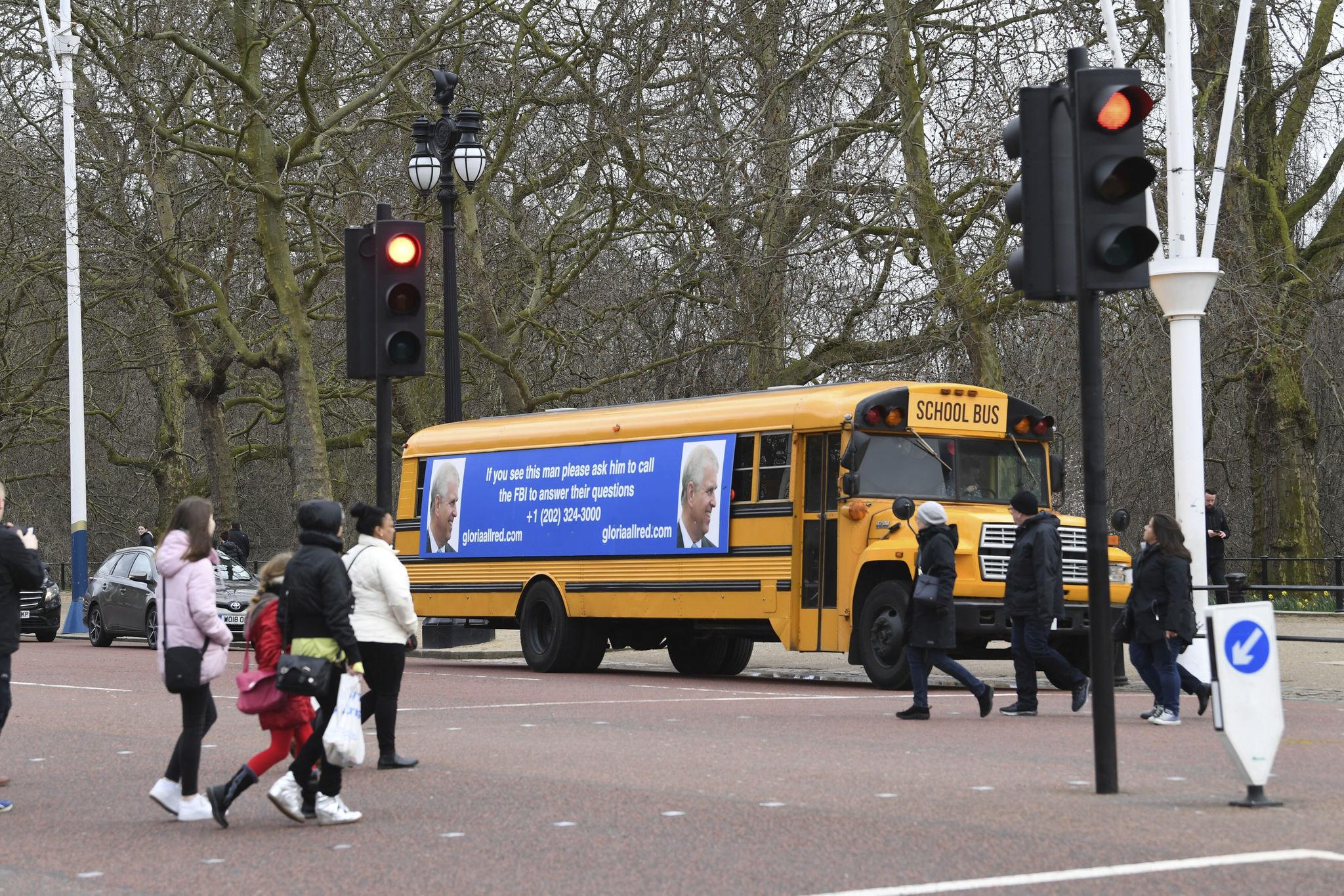 Gloria Allred-sponsored bus billboard trolls Prince Andrew outside Buckingham Palace