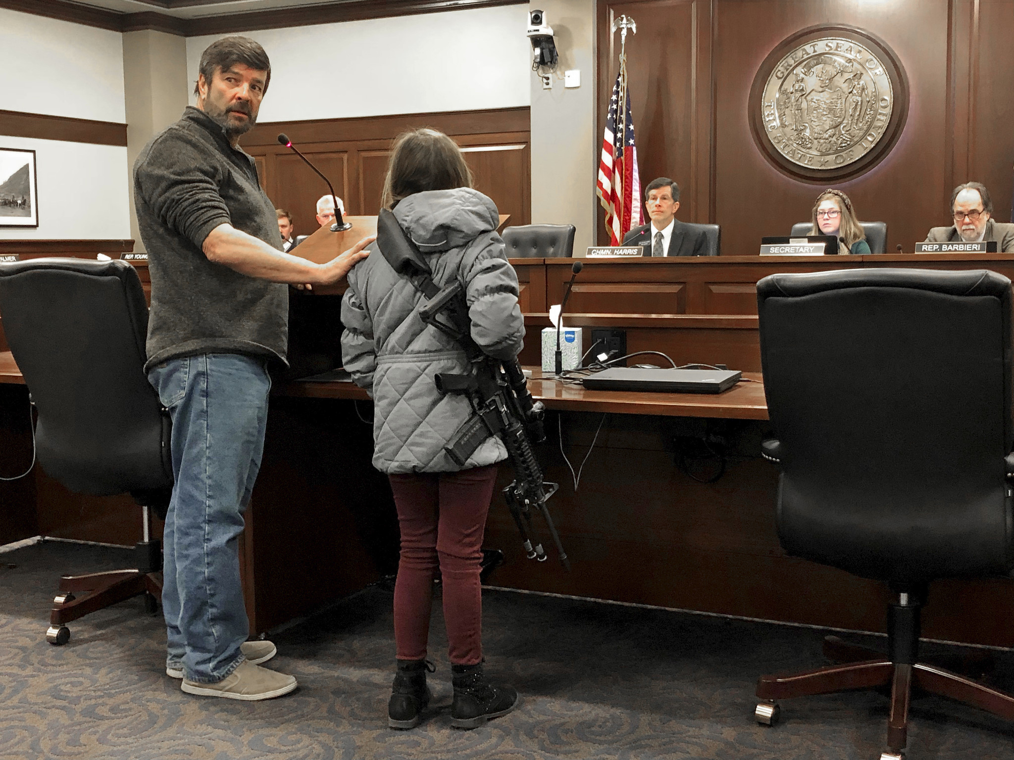 An 11-year-old girl brought a loaded AR-15 to the Idaho statehouse