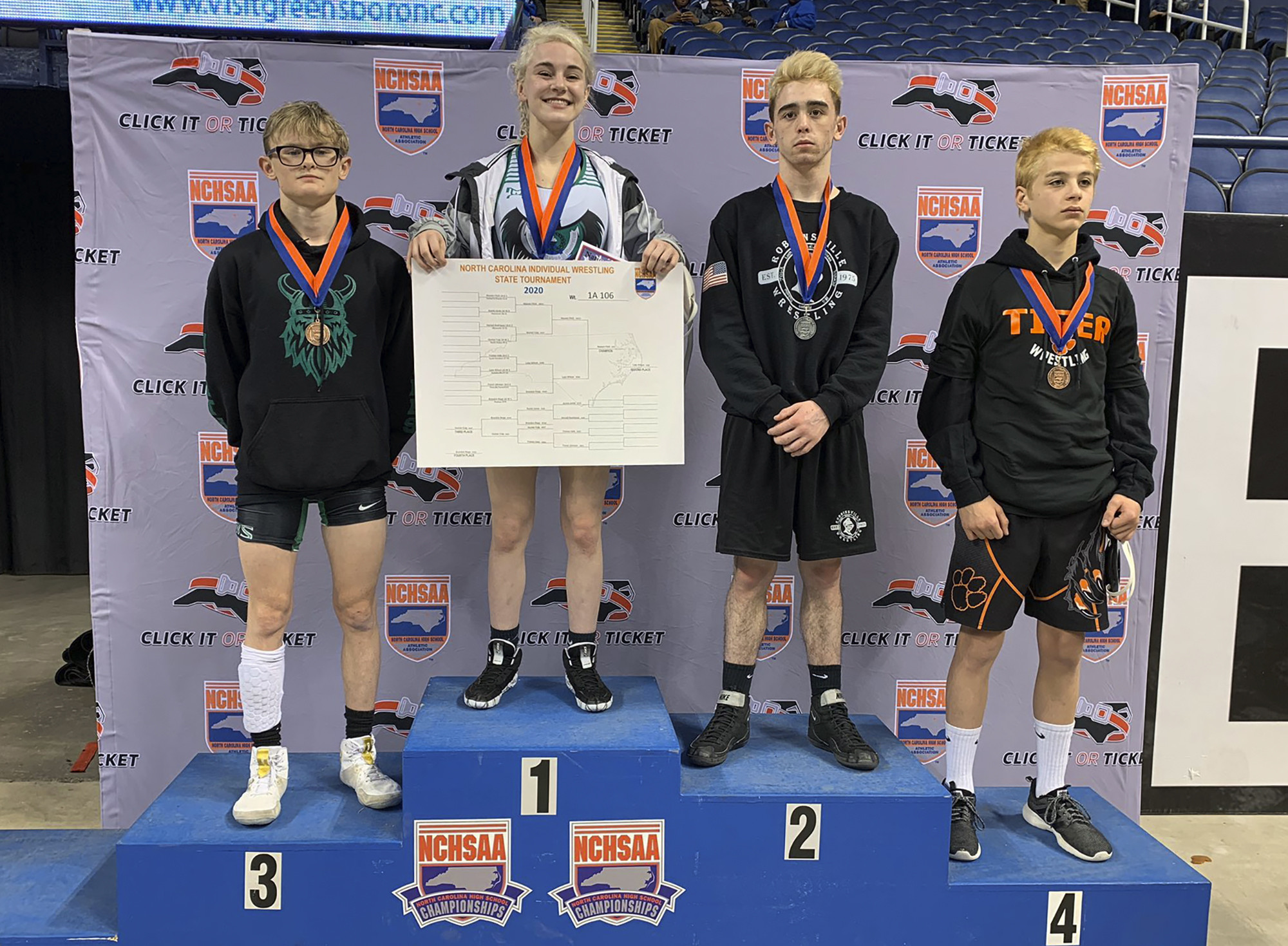 Female wrestler wins North Carolina high school state championship for first time