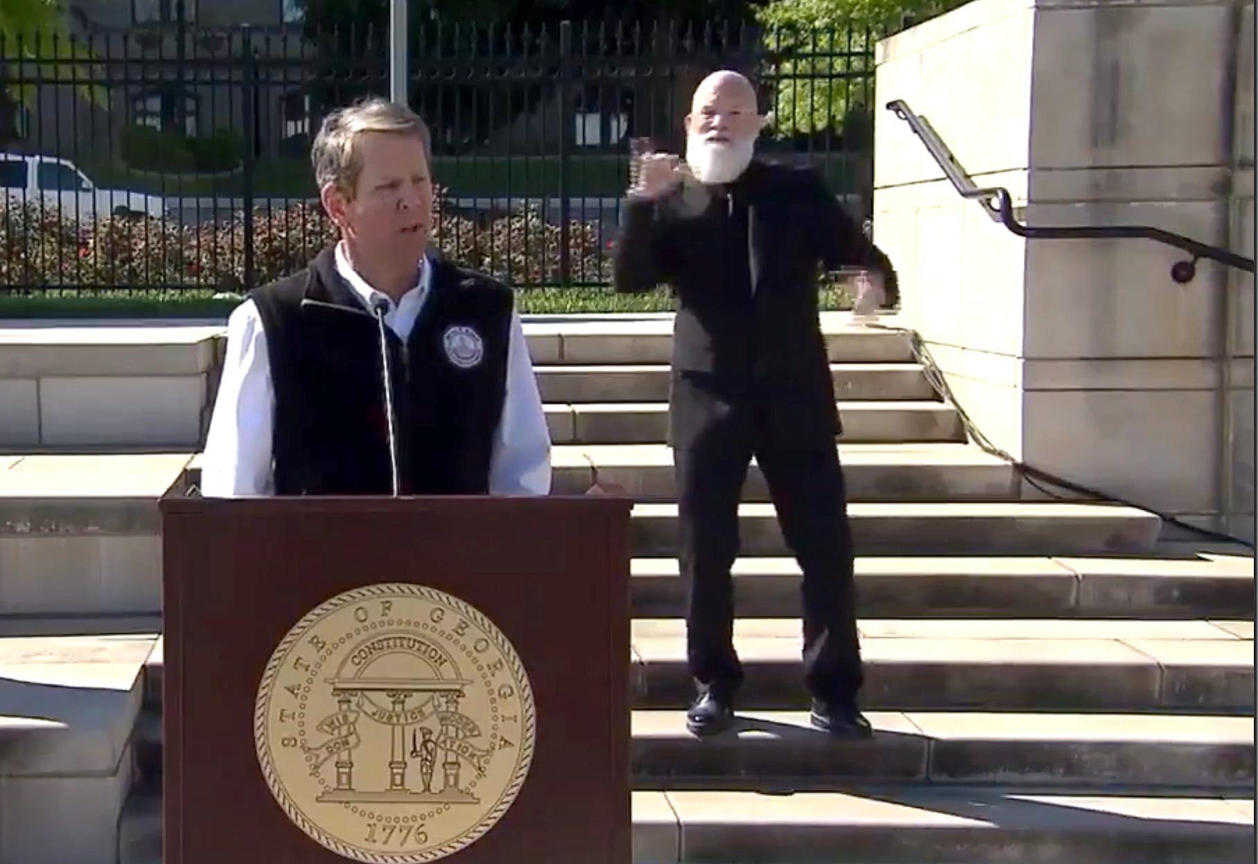 Sign language interpreter at Georgia governor's news conference looks like David Letterman, internet says