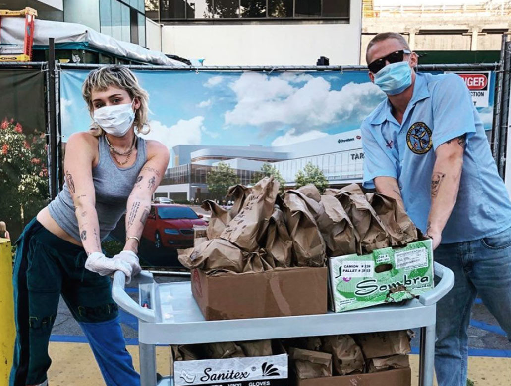 Miley Cyrus and boyfriend Cody Simpson drop off tacos for healthcare workers during coronavirus fight