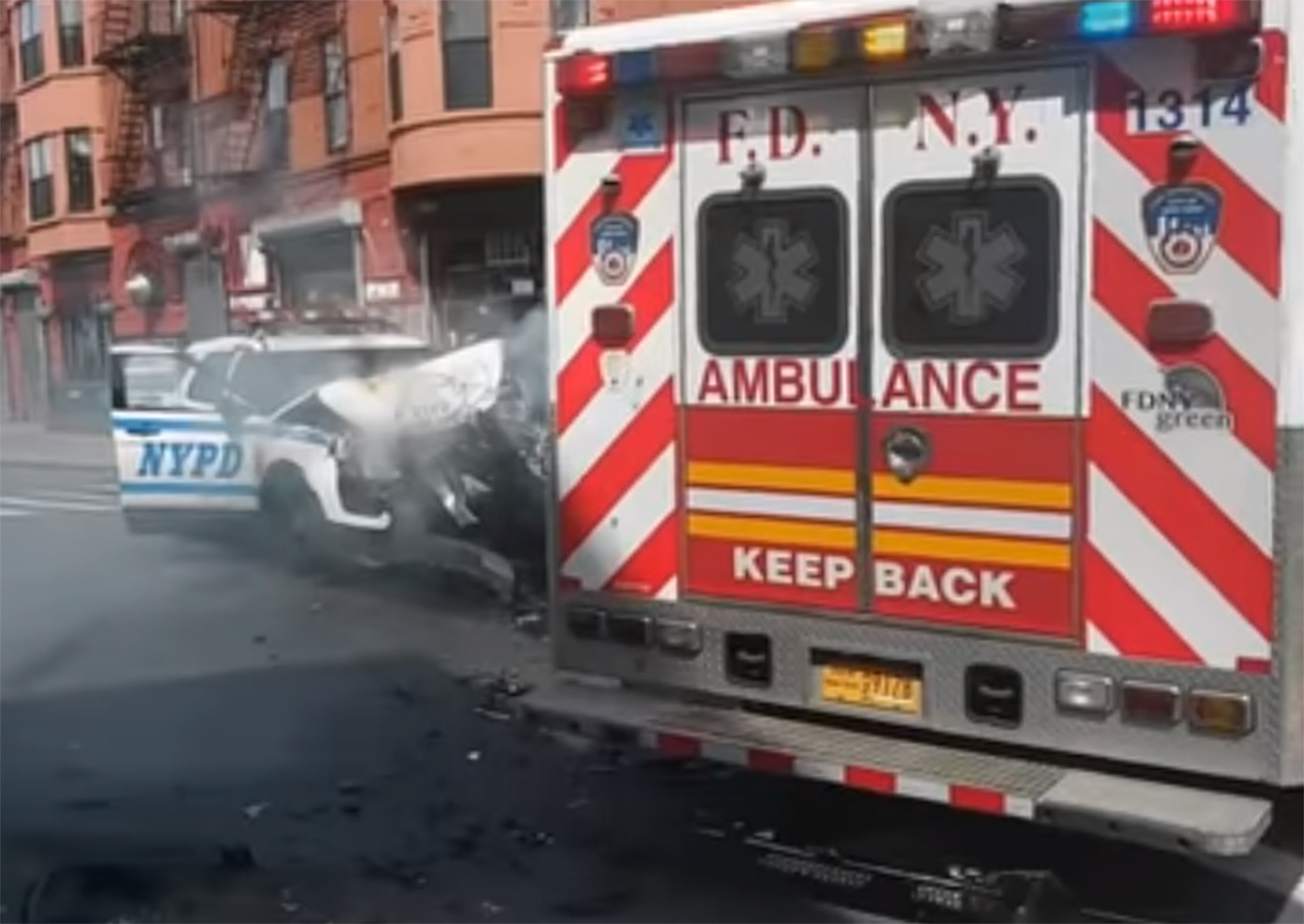 SEE IT: NYPD SUV crashed into FDNY ambulance in Brooklyn, two EMTs and two cops hurt